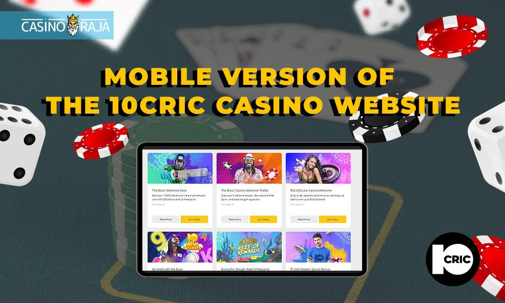 Mobile version of the 10cric casino website